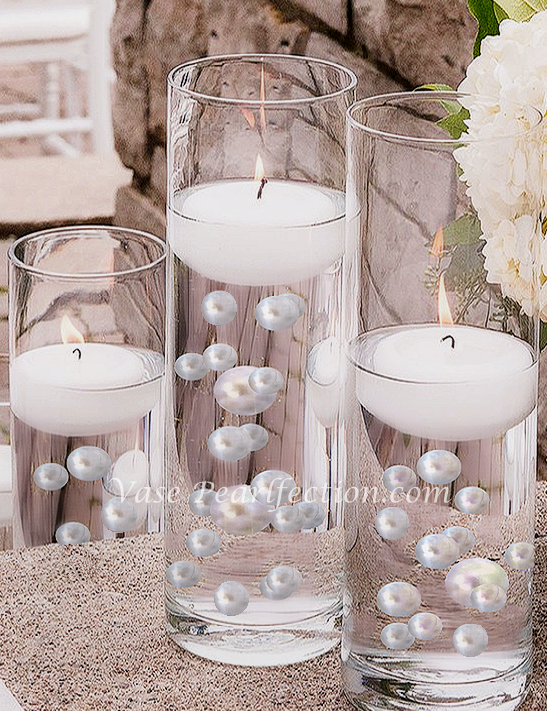 120 Floating White Pearls & Sparkling Gem Accents - No Hole Jumbo/Assorted Sizes Vase Decorations and Table Scatter