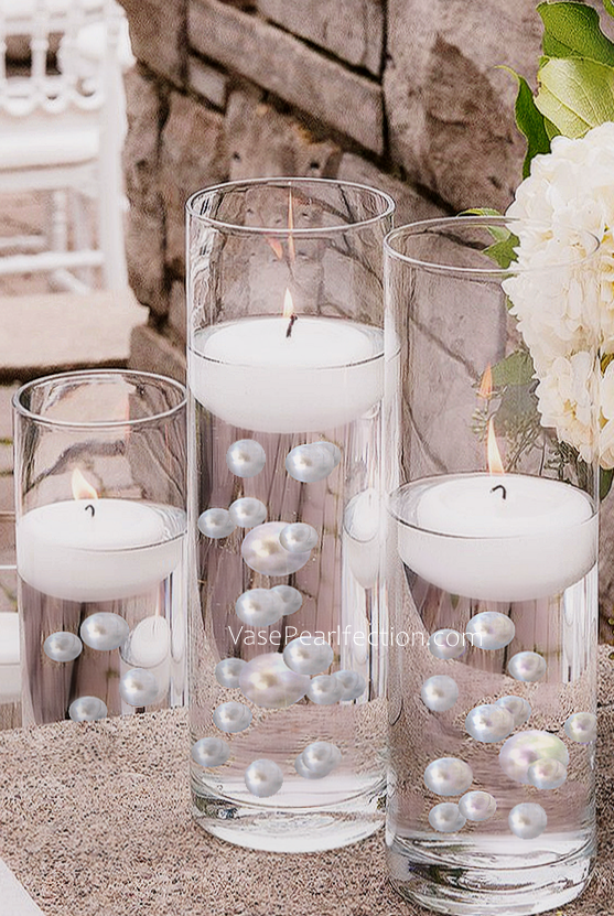 Floating No Hole White Pearls - Jumbo/Assorted Sizes Vase Decorations