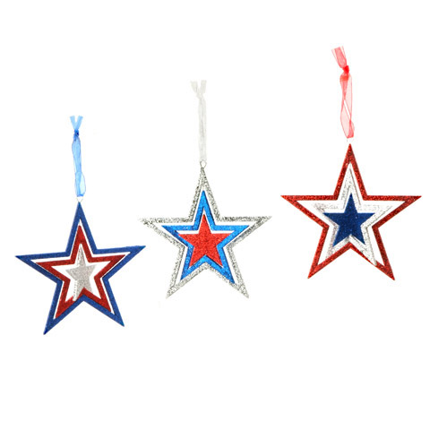 "Patriotic Americana Spiral Stars - set of 3 - 4.5"" each"