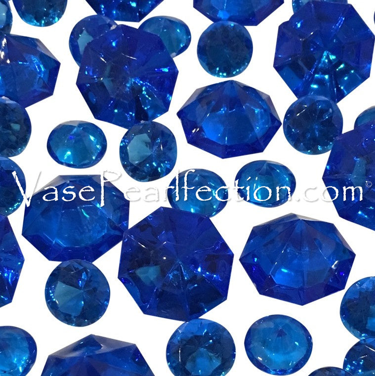 100 Royal Blue Diamond Gems - Jumbo & Assorted Sizes Vase Decorations and Table Scatter