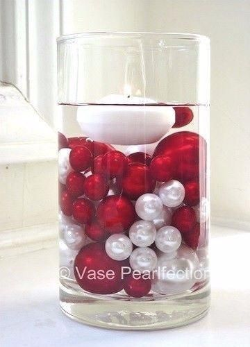 No Hole Red and White Pearls - Jumbo/Assorted Sizes Vase Decorations