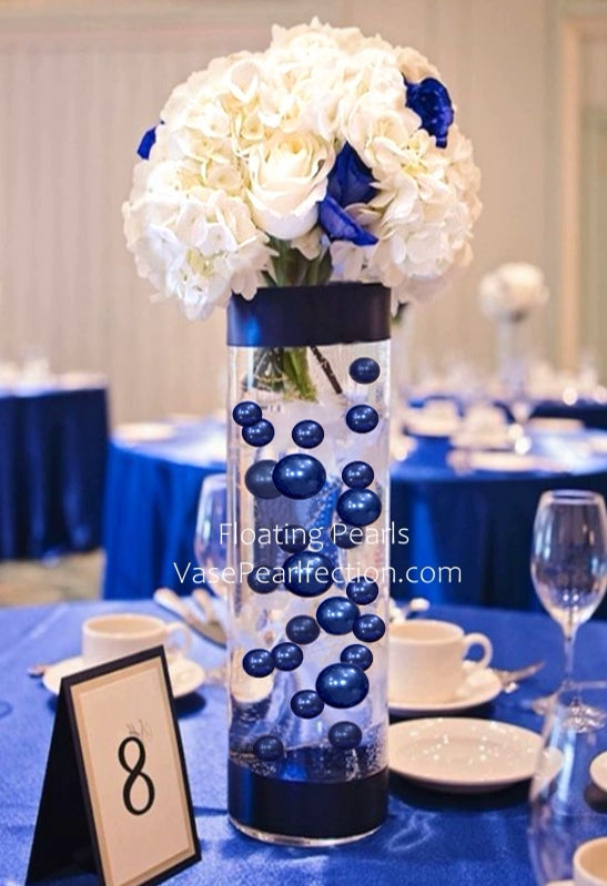 Floating Royal Blue (Bright Navy) Pearls - No Hole Jumbo/Assorted Sizes Vase Decorations