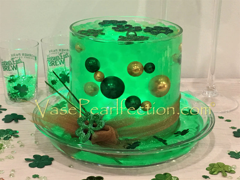 St. Patrick's Green & Gold Pearls - No Hole Jumbo/Assorted Sizes Vase Decorations