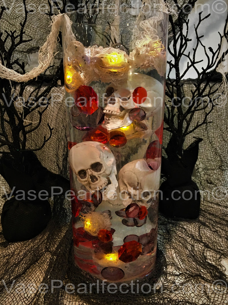 6 Jumbo Skulls  for Halloween Vase/Table Decorations and More...