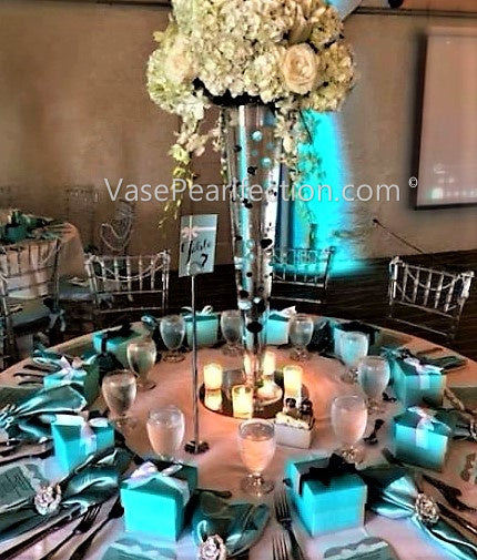 Floating Tiffany Blue Pearls - No Hole Jumbo & Assorted Sizes Vase Decorations