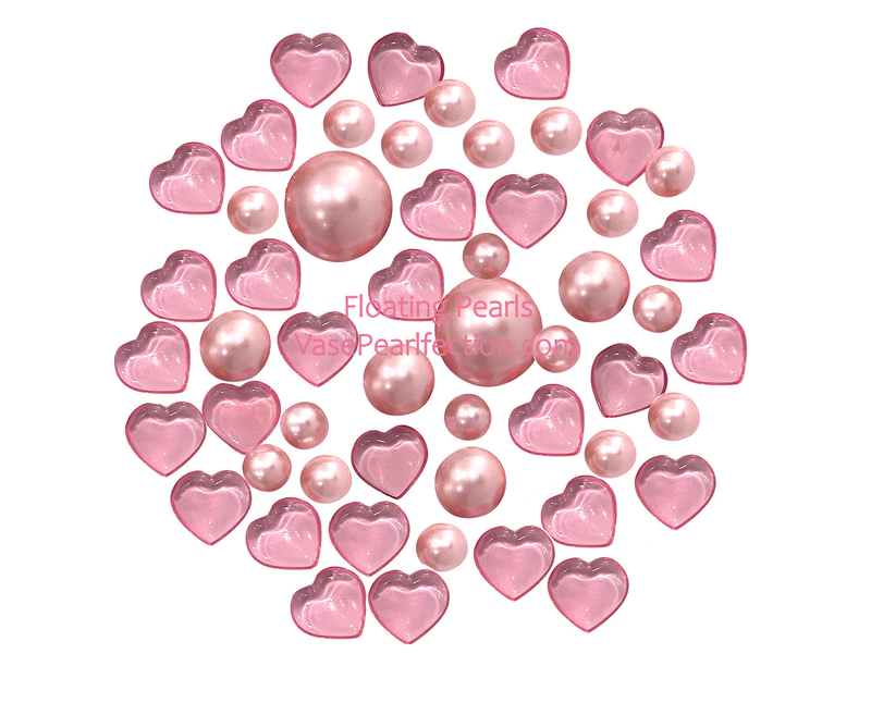 Floating Mother's Day/Valentine Light Pink Hearts & Pearls- Vase Decorations & Table Scatter