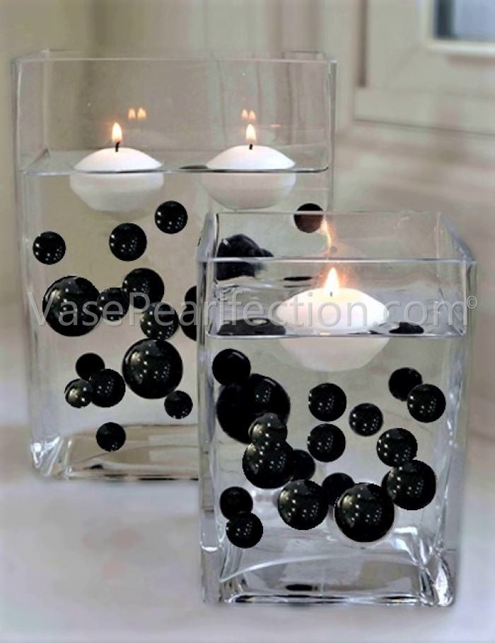 Black Pearls - No Hole Jumbo/Assorted Sizes Vase Decorations