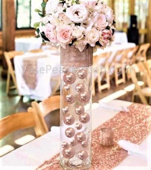 Floating Blush Light Pink Pearls - No Hole Jumbo/Assorted Sizes Vase Decorations