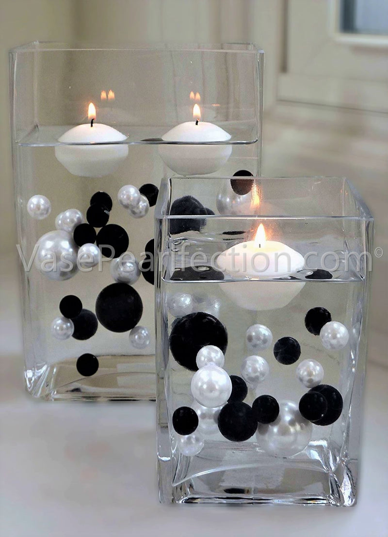 Black and White Pearls - No Hole Jumbo/Assorted Sizes Vase Decorations