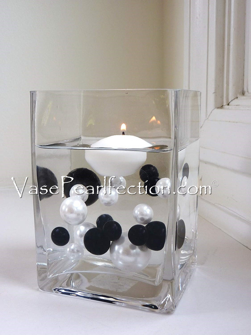 Floating Black & White Pearls - No Hole Jumbo/Assorted Sizes Vase Decorations