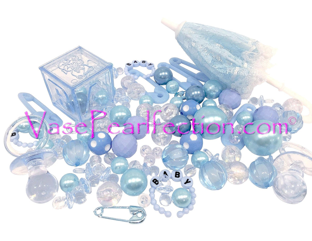 100 Floating Blue Baby Shower Pearls and Gems Vase Fillers - Jumbo/Assorted Sizes for Decorating Centerpieces