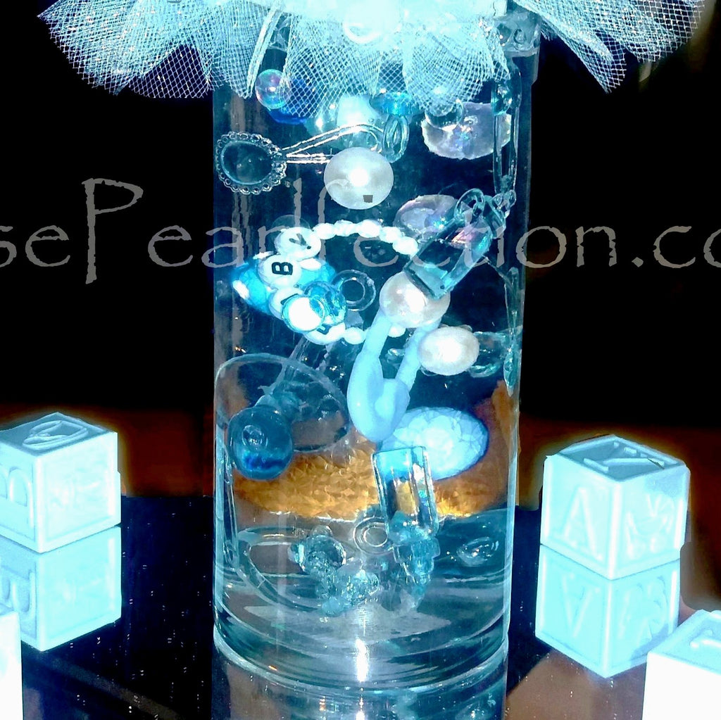 100 Floating Blue Baby Shower Gems & Pearls Vase and Table Scatter Decorations