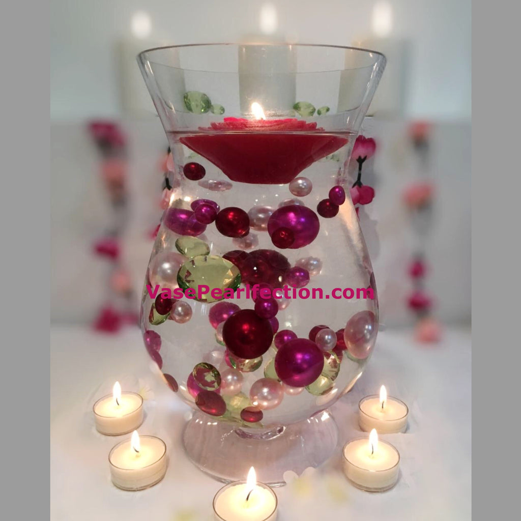 Floating Bouquet of 80 Red Pearls, Pink Pearls & Green Gems - Jumbo/Assorted Sizes Vase Decorations and Table Scatter
