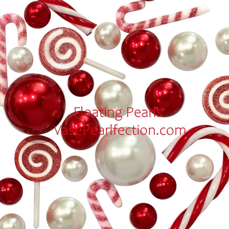 Floating Christmas Candyland: Candy Canes, Lollipops, Red & White Pearls, with Festive Gems - Vase Decorations + Transparent Gels Packets