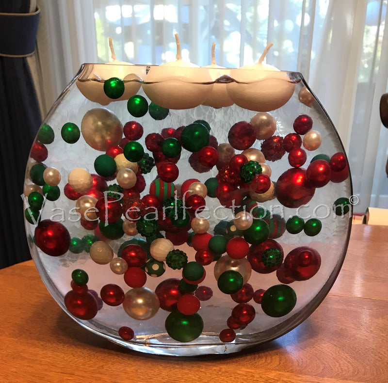 Floating Kelly/Christmas Green Pearls - Jumbo/Assorted Sizes Vase Decorations
