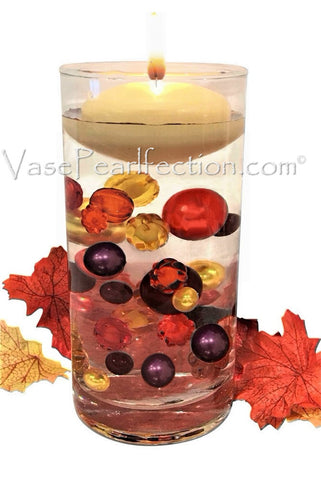 Floating Shades of Fall Leaves, Pearls & Gems-Jumbo/Assorted Sizes Vase Fillers for Centerpieces