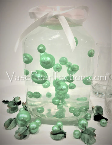 *Clearance* Mint Blue Pearls - Jumbo/Assorted Sizes Vase Decorations