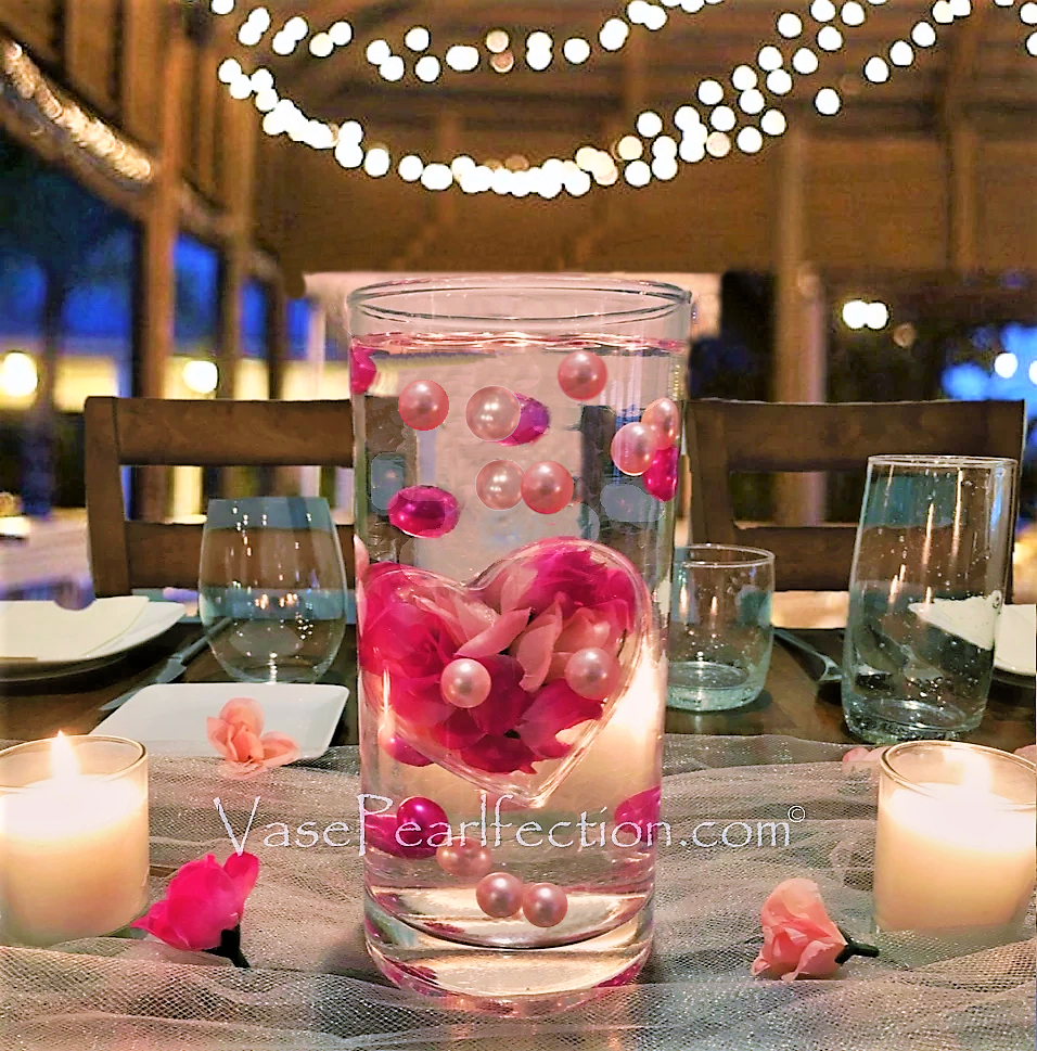 Floating Extra Jumbo Clear Fillable and Submersible Heart with Your Choice Pearls- Floating Vase Decorations