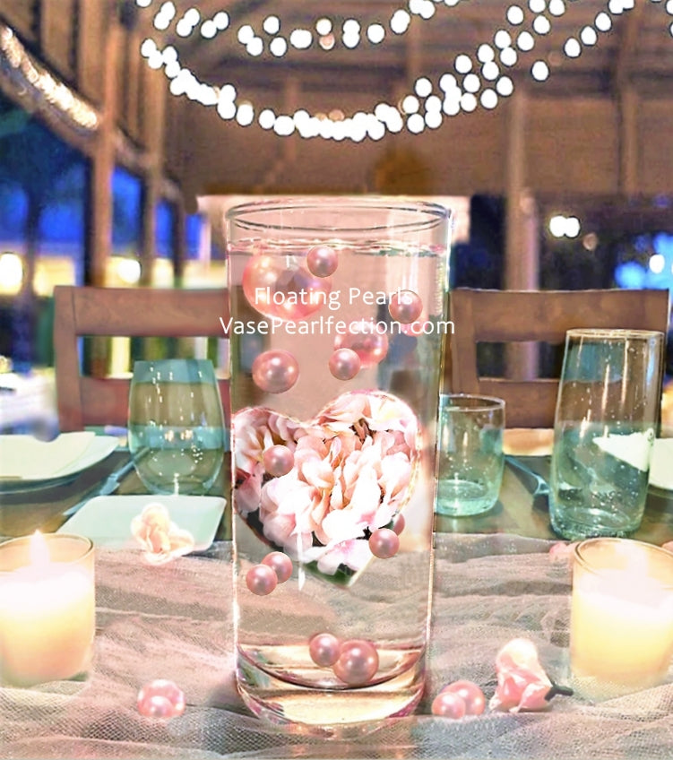 Floating Big Heart Full of Light Pink Hydrangea Vase Decorations