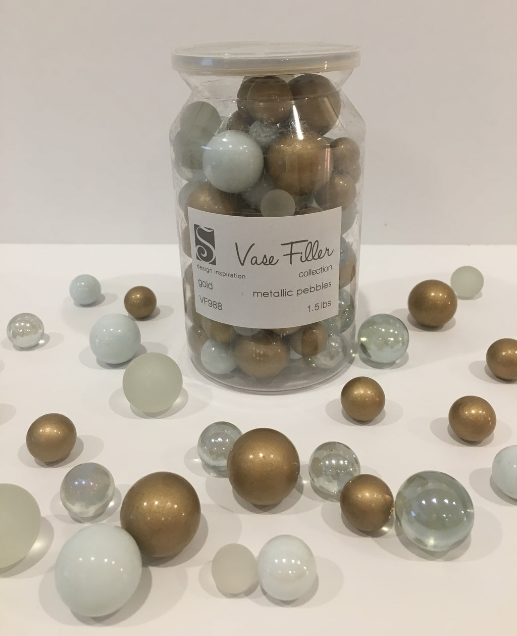 *Clearance* No Hole 80 Gold Theme Glass Marbles - Jumbo/Assorted Sizes Vase Fillers for Decorating Centerpieces