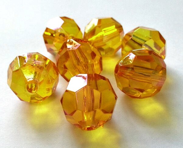 Round Faceted Golden Gems - 1 Pound Bag - Vase Decorations and Table Scatter