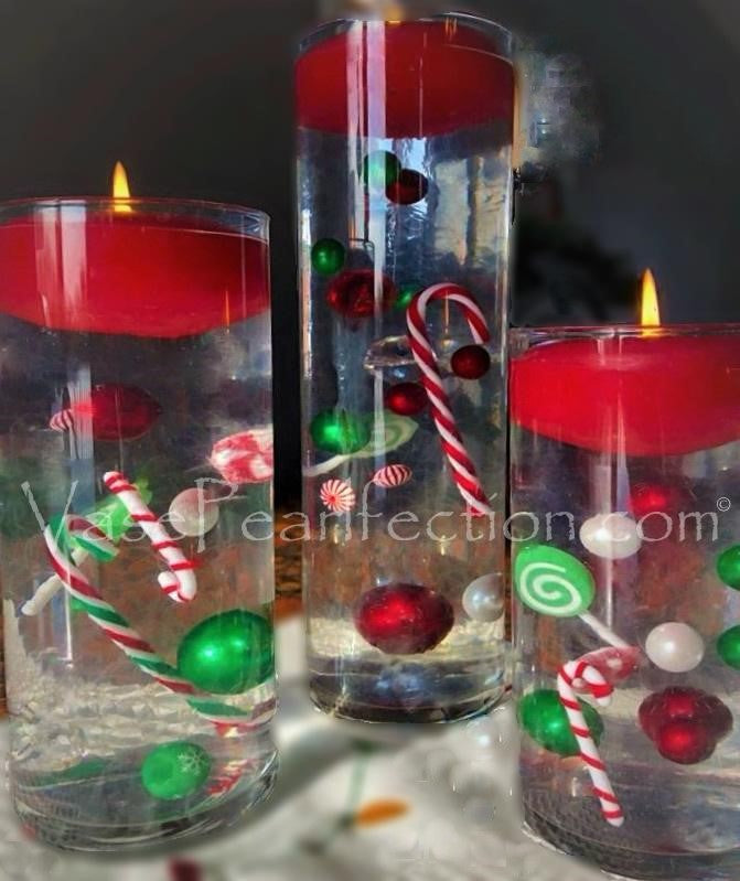 Floating Christmas Candyland: Candy Canes, Lollipops, Green & Red Pearls, with Festive Gems - Vase Decorations + Transparent Gels Packets
