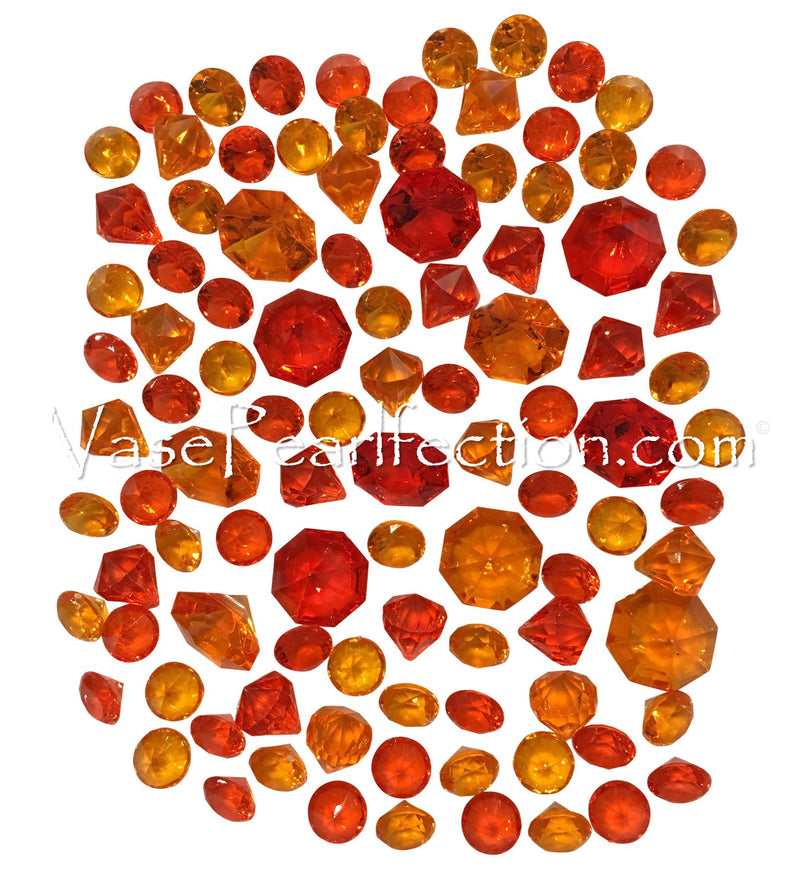 100 Red and Orange Sparkling Diamond Gems - Jumbo & Assorted Sizes Vase Decorations and Table Scatter