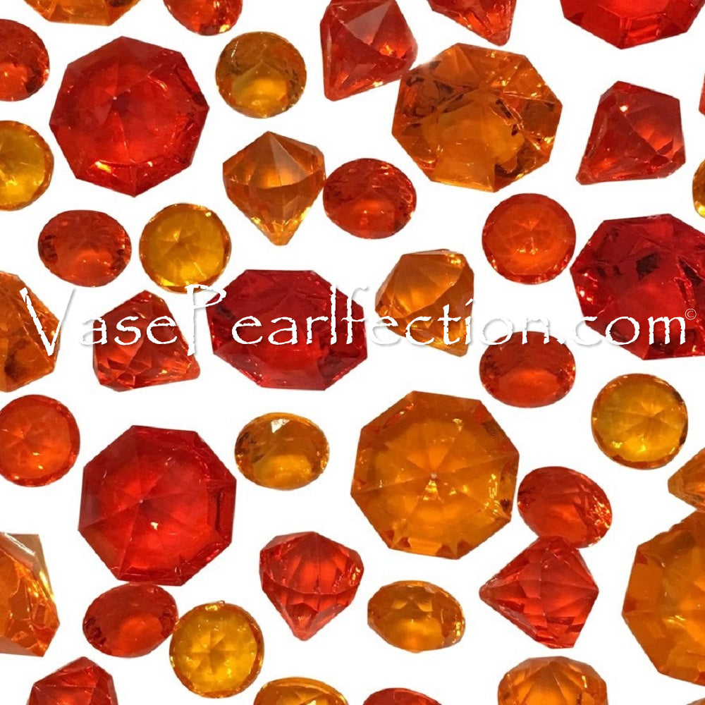 100 Floating Bright Red and Orange Sparkling Diamond Gems - Jumbo & Assorted Sizes Vase Decorations and Table Scatter