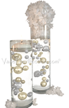 Floating Gold Pearls - No Hole Jumbo/Assorted Sizes Vase Decorations