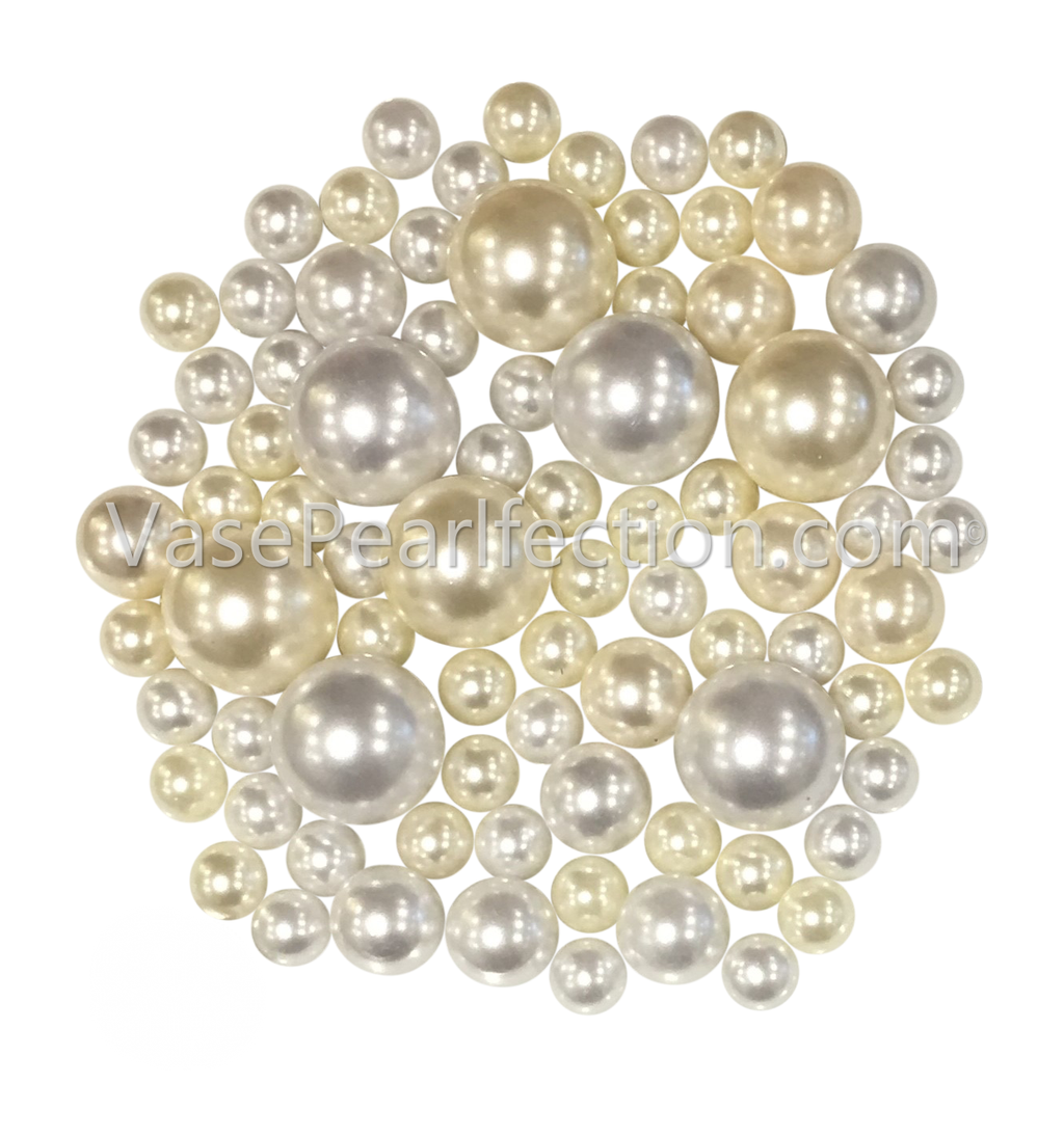 Ivory and White Pearls - No Hole Jumbo/Assorted Sizes Vase Decorations