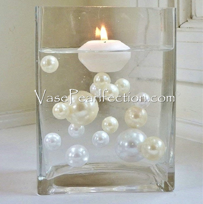120 Floating No Hole Ivory & White Pearls w/ Gems Accents-Jumbo/Assorted Sizes Vase Decorations and Table Scatters