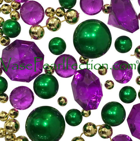 Floating Mardi Gras Purple, Green, and Gold Pearls & Gems - Jumbo/Assorted Sizes Vase Decorations and Table Scatters