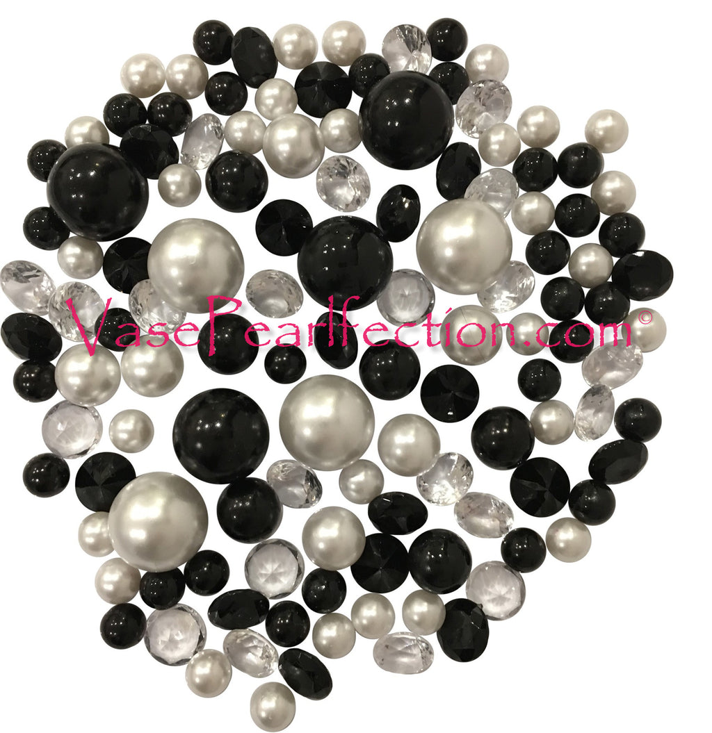 120 Black & White Pearls with Matching Gems Accents - No Hole Jumbo/Assorted Sizes Vase Decorations and Table Scatters