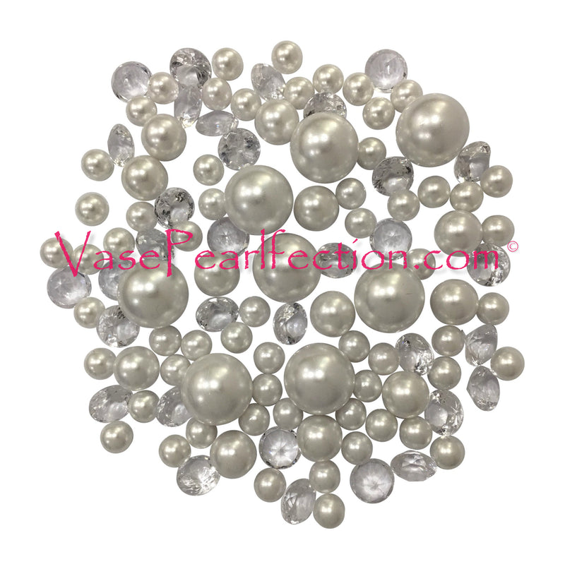 120 No Hole White Pearls with Sparkling Gem Accents - Jumbo/Assorted Sizes Vase Decorations and Table Scatter
