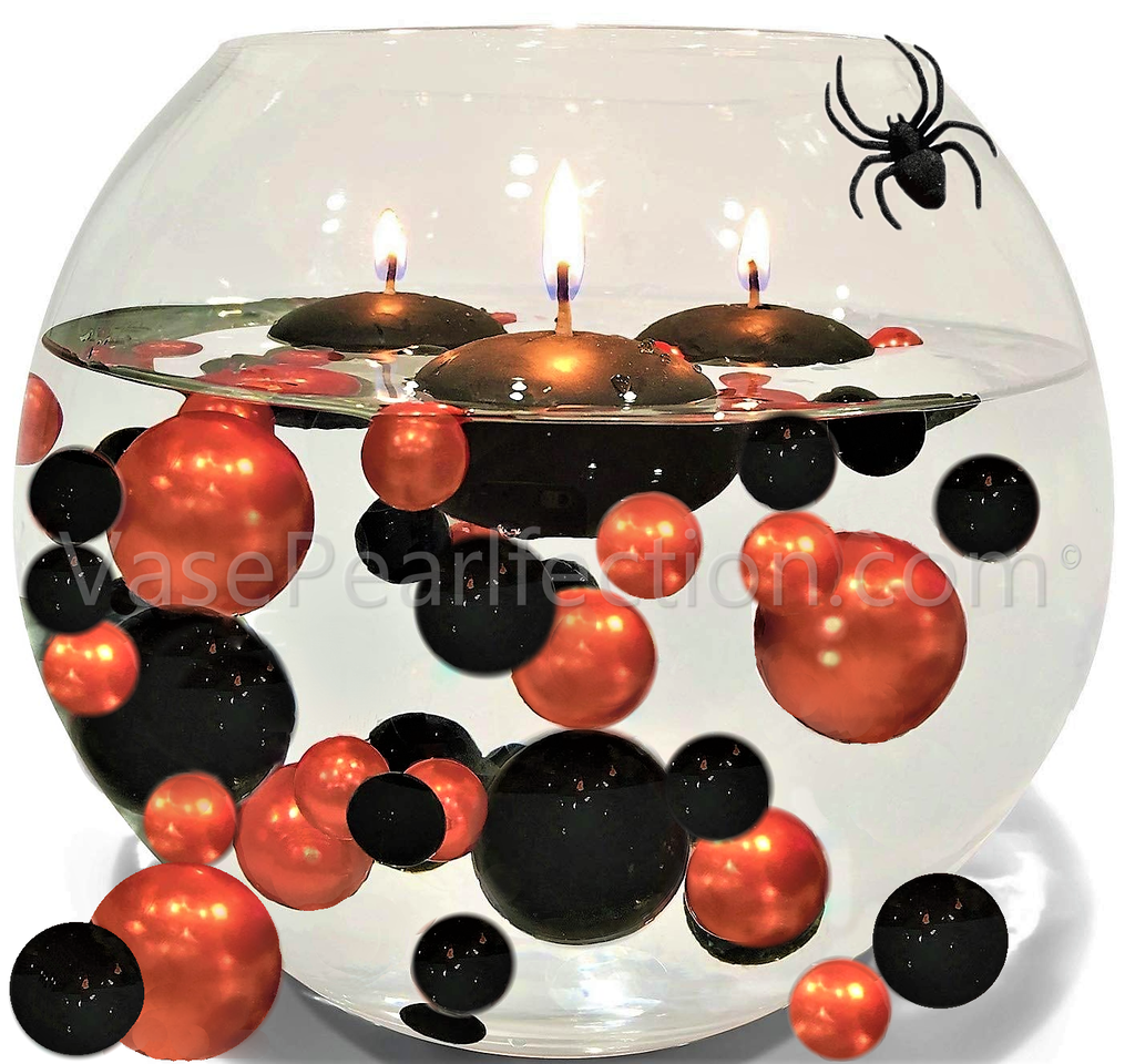Halloween Orange and Black Pearls - Jumbo & Assorted Sizes Vase Decorations