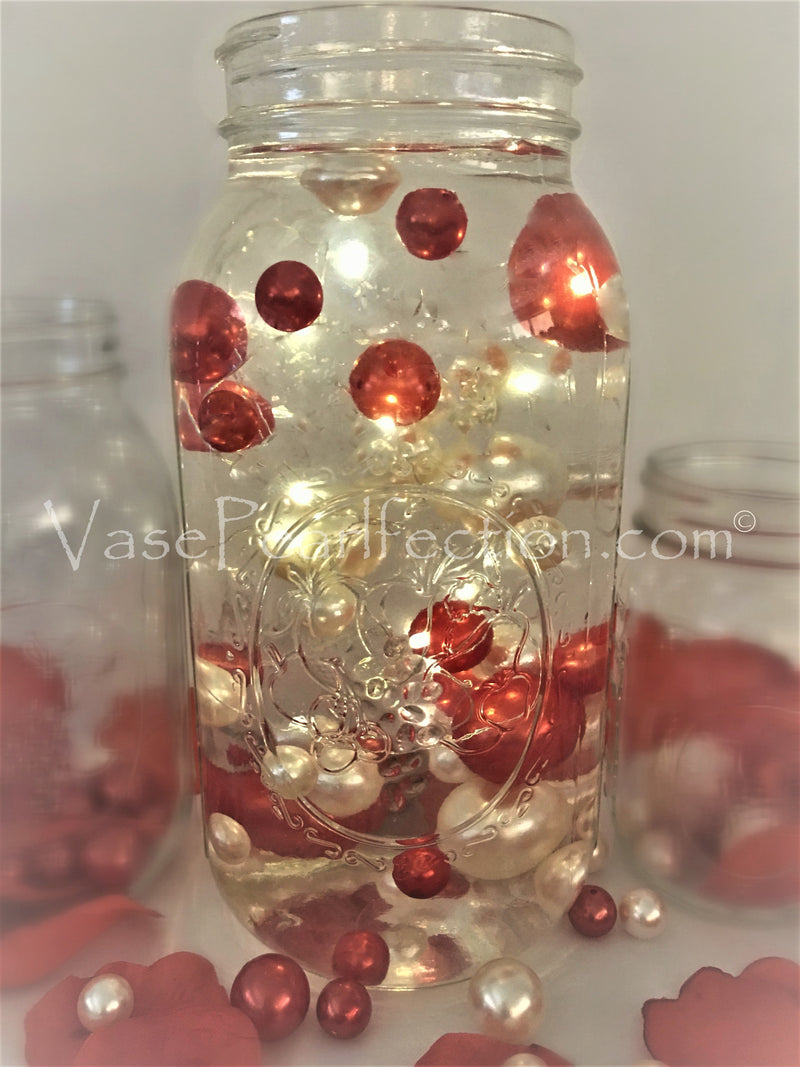 120 Orange Pearls with Matching Sparkling Gems Accents - Jumbo/Assorted Sizes Vase Decorations and Table Scatter