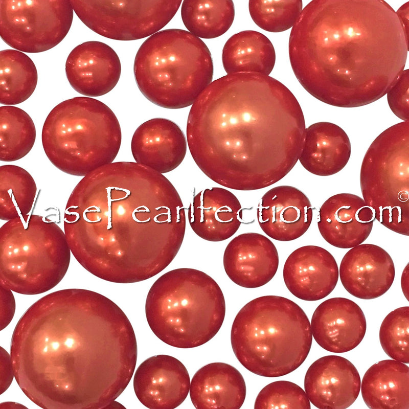 *Clearance* Floating Orange Pearls - Jumbo/Assorted Sizes Vase Decorations & Table Scatter