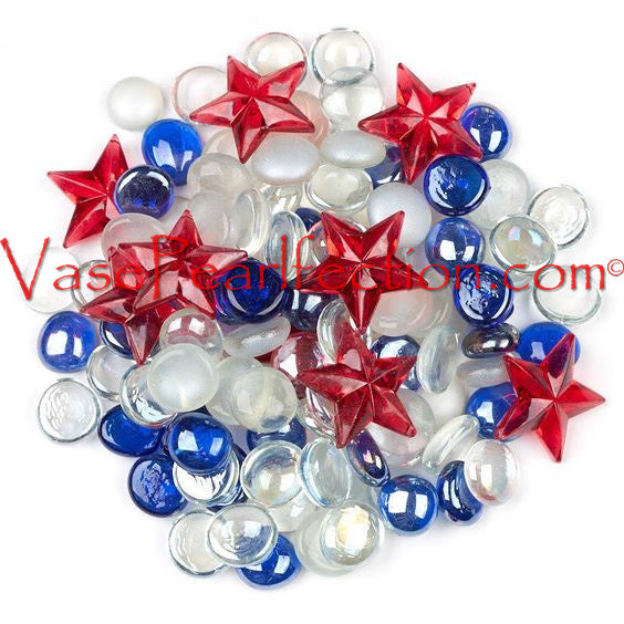 Patriotic Red, White, and Blue Glass Gems - Assorted Sizes Vase Decorations and Table Scatter