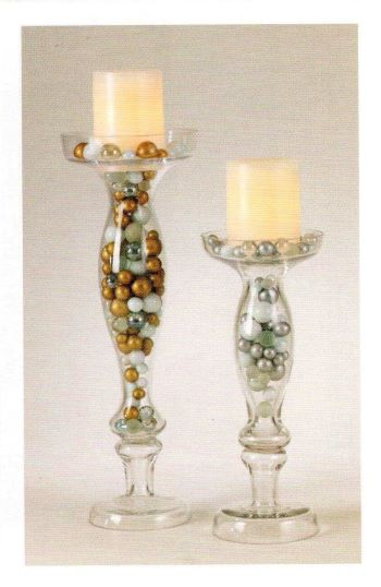 *Clearance* 80 Gold Theme Glass Marbles - No Hole Jumbo/Assorted Sizes Vase Fillers for Decorating Centerpieces