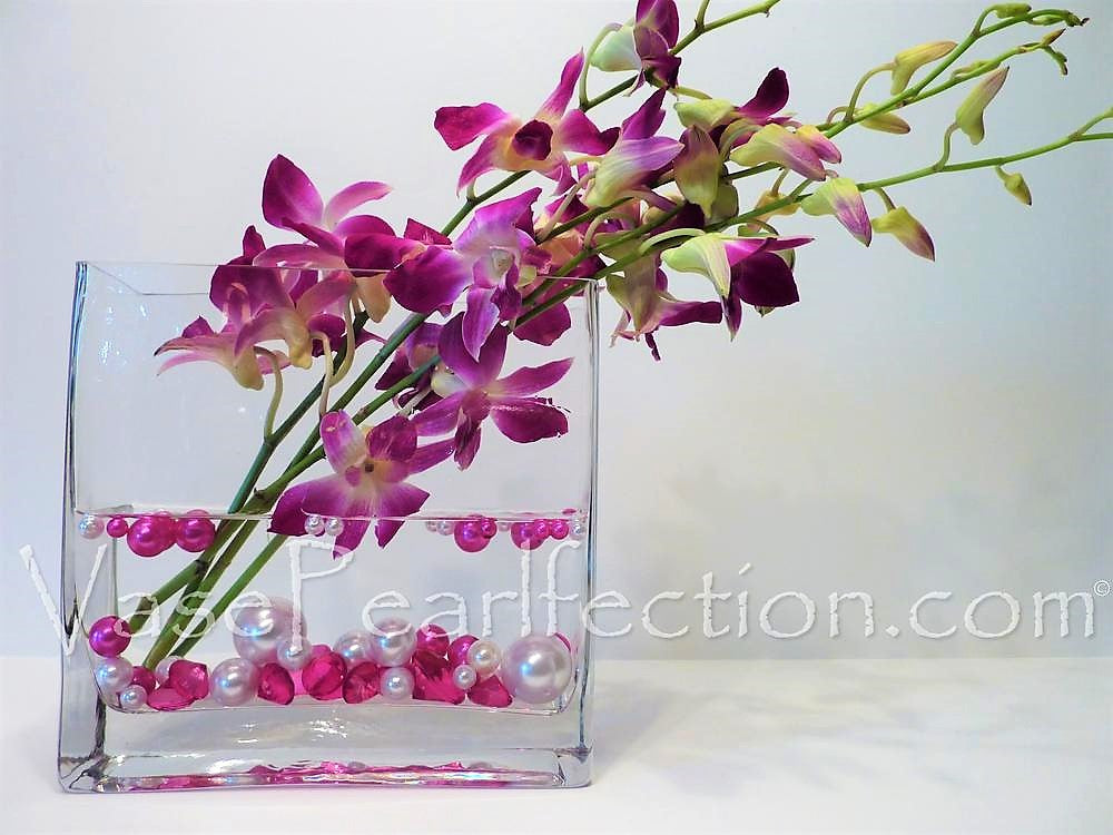 Floating Hot Pink (Fuchsia) Pearls - No Hole Jumbo/Assorted Sizes Vase Decorations