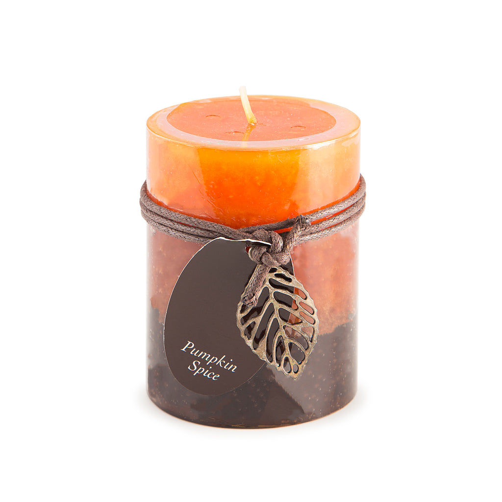 "3"" x 4"" Three Layer Mottled Pillar Candle - Pumpkin Spice Scented"