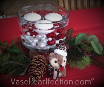 120 Floating No Hole Red and White Pearls with Sparkling Gem Accents - Jumbo/Assorted Sizes Vase Decorations and Table Scatter