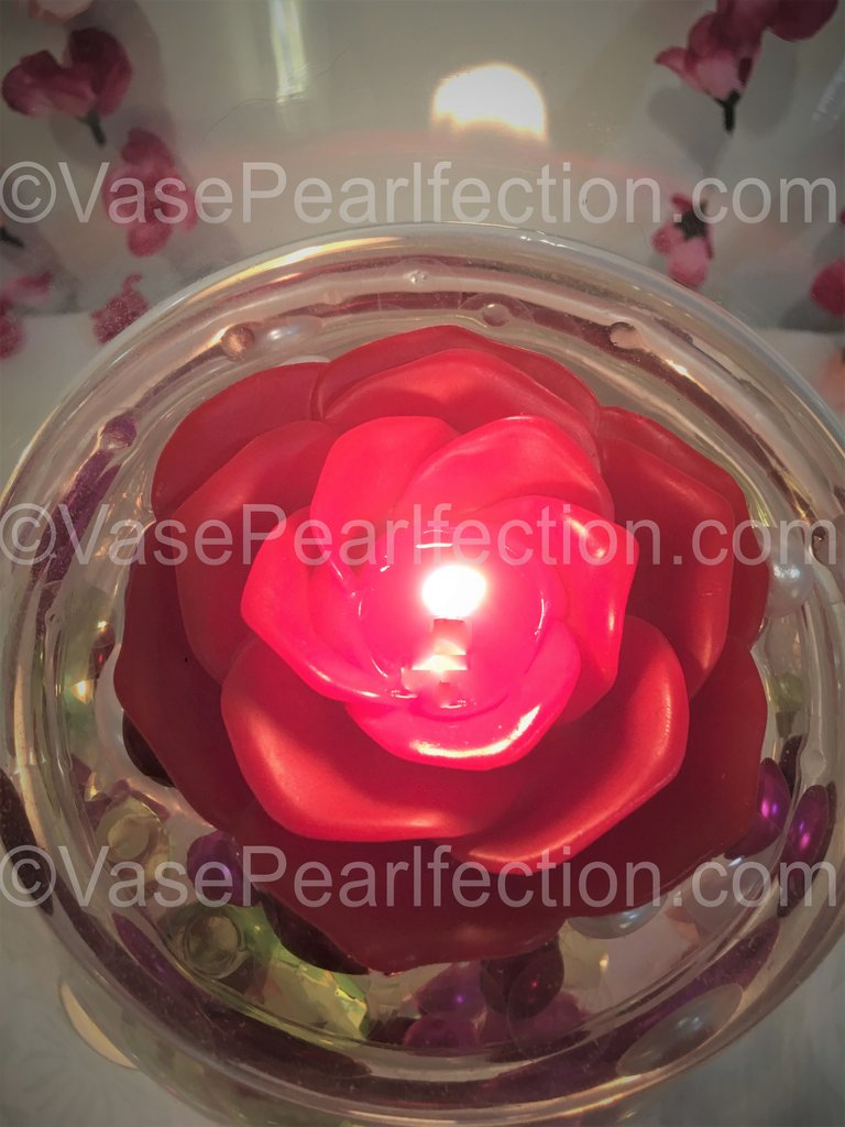 "3.75"" Red Flower Floating Candles. Set of 3-Unscented"