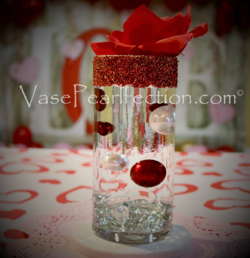 120 Floating Red and White Pearls with Sparkling Gem Accents - No Hole Jumbo/Assorted Sizes Vase Decorations and Table Scatter