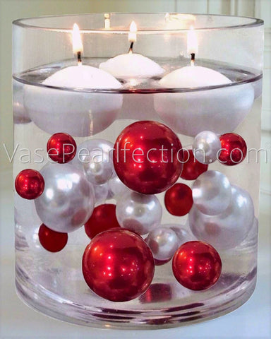 No Hole White Pearls - Jumbo/Assorted Sizes Vase Decorations