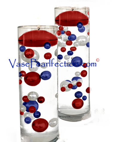 120 Floating Red, White, and Blue Pearls - No Hole Jumbo & Assorted Sizes Vase Decorations