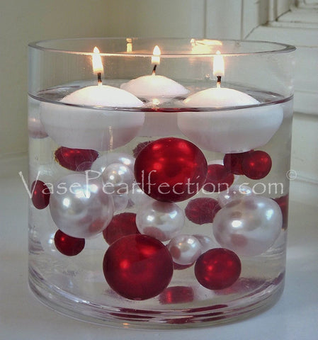 Floating Christmas  Candyland: Red & White Pearls, Lollipops, and Holiday Gems - Jumbo/Assorted Sizes Vase Decorations