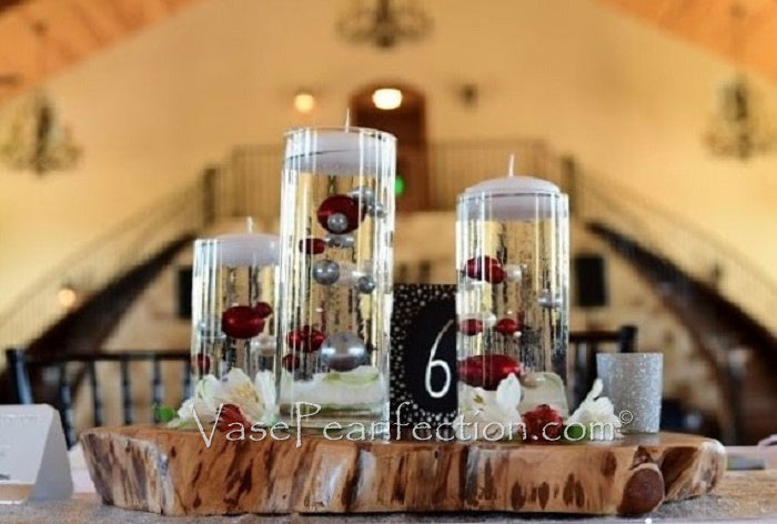 Red and White Pearls - No Hole Jumbo/Assorted Sizes Vase Decorations