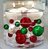 Floating Miniature Green Wreaths, Snow & Red Pearls Winter Wonderland Vase Decorations