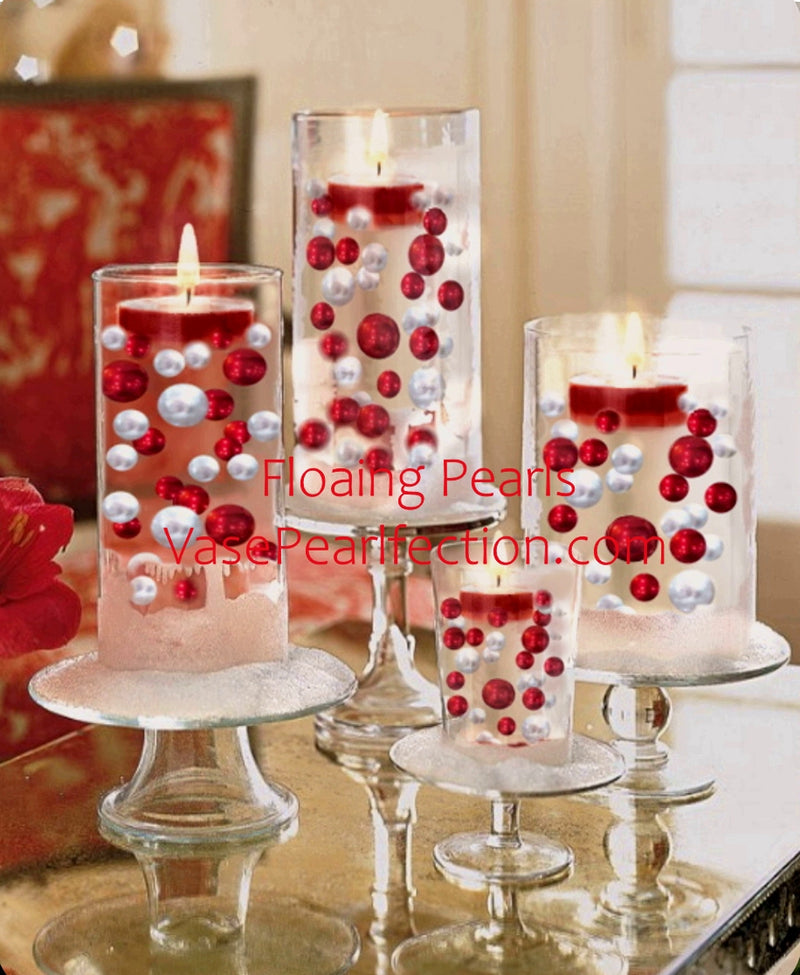 120 Red & White Pearls w/ Gems Accents - No Hole Jumbo/Assorted Sizes Vase Decorations and Table Scatters
